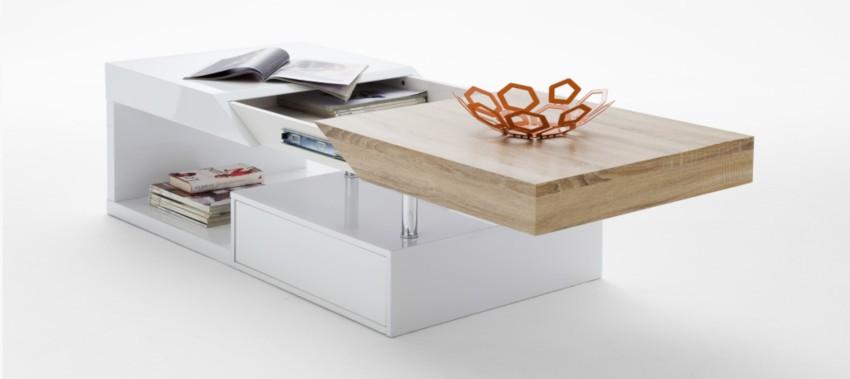 table basse rectangulaire laquée blanche avec plateau en bois et rangements