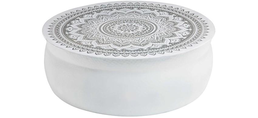 table basse marocaine blanche en aluminium martelé