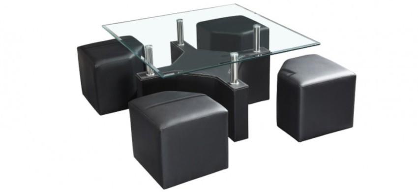 table basse et son plateau de verre avec 4 poufs en cuir noir