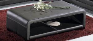 table basse rectangulaire en PVC recouvert de cuir avec rangements sous le plateau