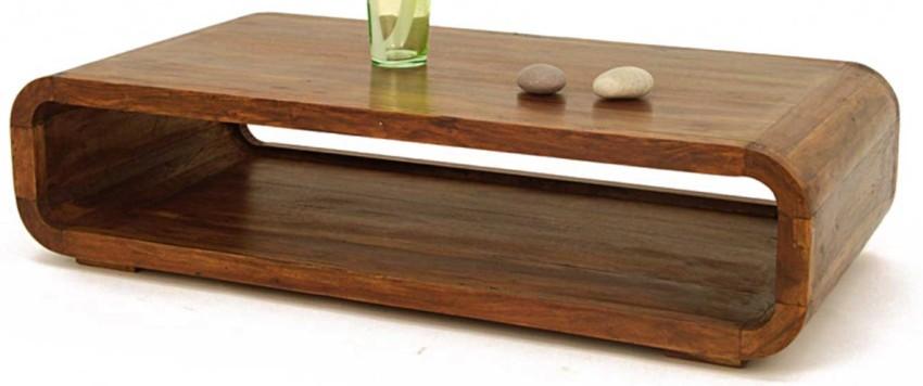 table basse rectangulaire en bois cirée