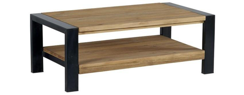 table basse rectangulaire en bois lasurée