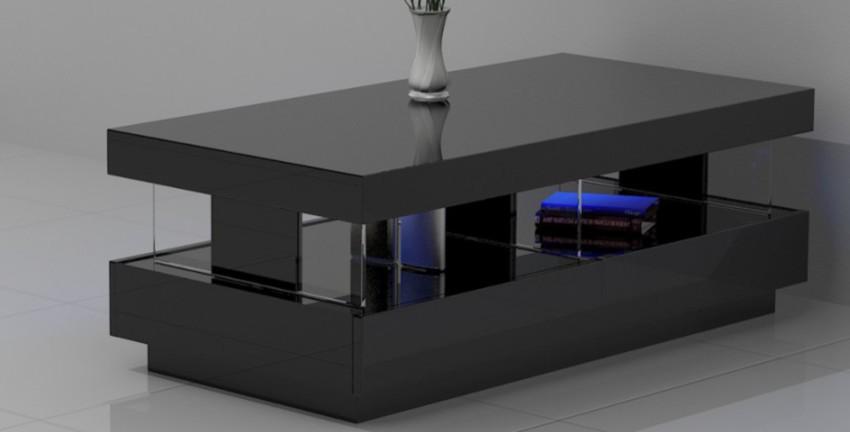 table basse rectangulaire laquée noire avec LED