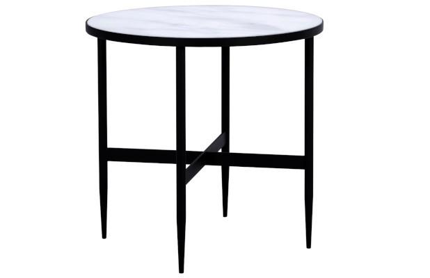 table basse ronde bistro et son plateau blanc effet marbre