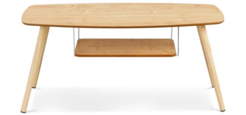 table basse scandinave pas cher ovale et son étagère suspendue