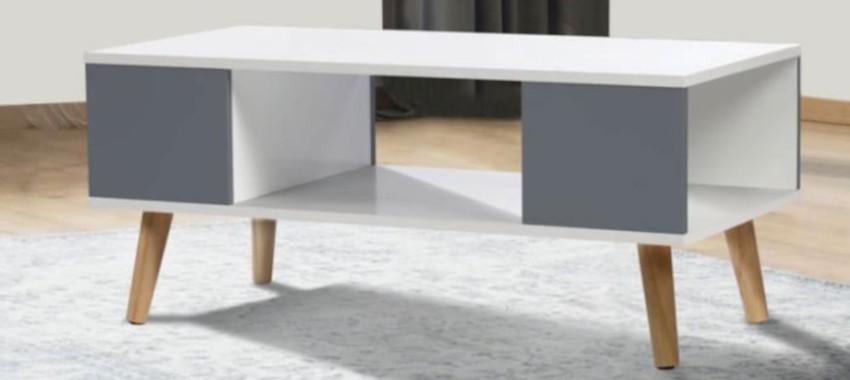 table basse scandinave rectangulaire blanche et grise pas cher