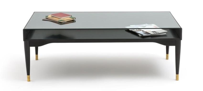 table basse vitrine avec plateau en verre trempé et pieds de finition laiton