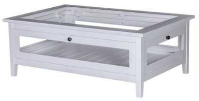 table basse vitrine blanche
