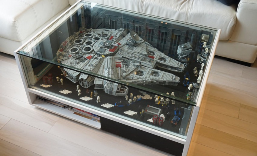table basse vitrine exposition de legos star wars