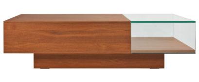 table basse vitrine rectangulaire avec un compartiment vitrine et un autre pour le rangement