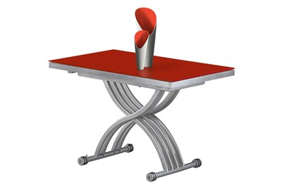 Table basse relevable rouge