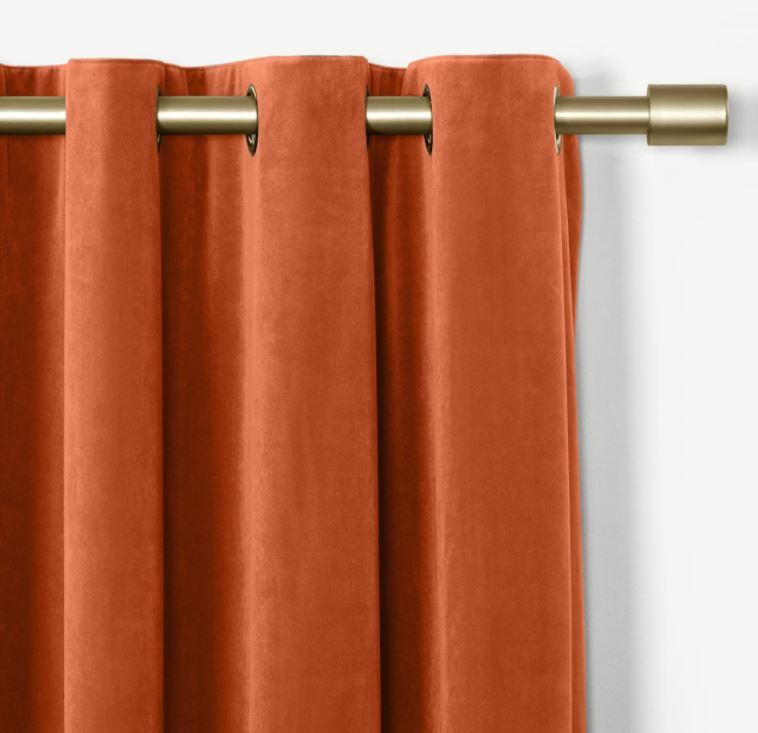 Rideaux velours orange brûlé